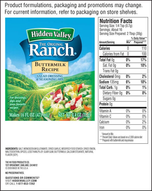 Calories in ranch dressing mix