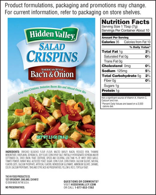 Bac&#8217;n &amp; Onion Salad Crispins<sup>&reg;</sup> nutritional facts