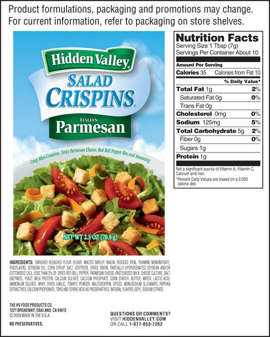 Italian Parmesan Salad Crispins<sup>&reg;</sup> nutritional facts