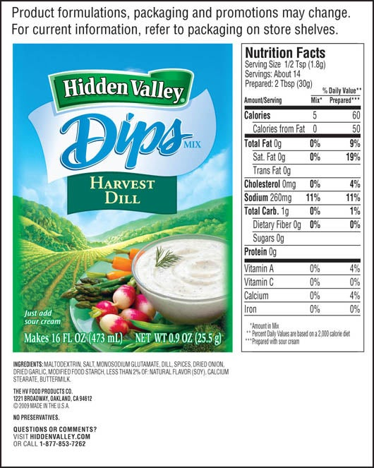 Hidden Valley<sup>&reg;</sup> Harvest Dill Dips Mix nutritional facts
