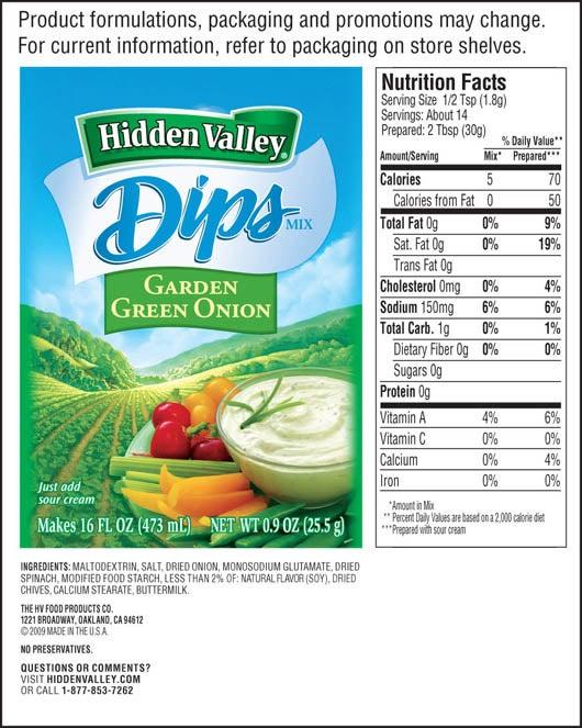 Hidden Valley<sup>&reg;</sup> Garden Green Onion Dips Mix nutritional facts