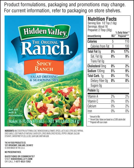 Hidden Valley® Spicy Ranch Salad Dressing & Seasoning Mix nutritional facts