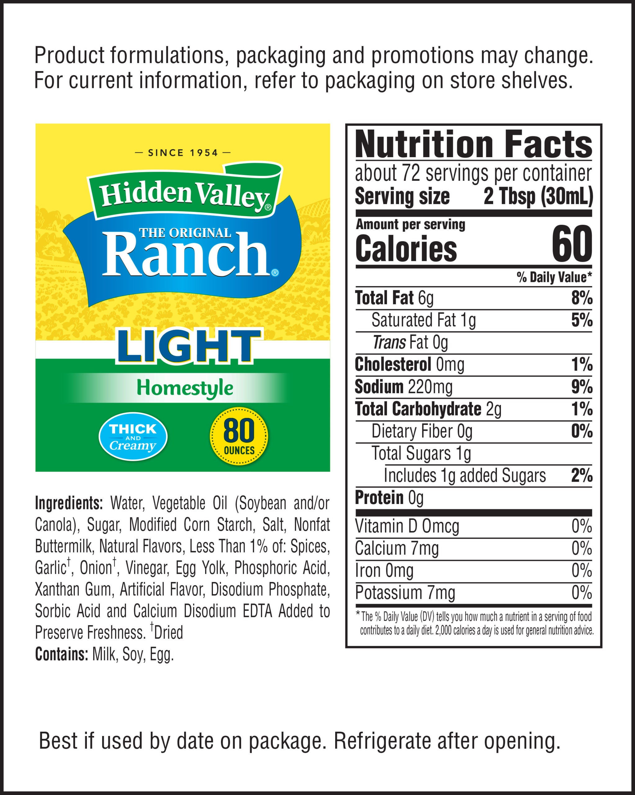Hidden Valley® Original Ranch® Homestyle Light Topping & Dressing nutritional facts