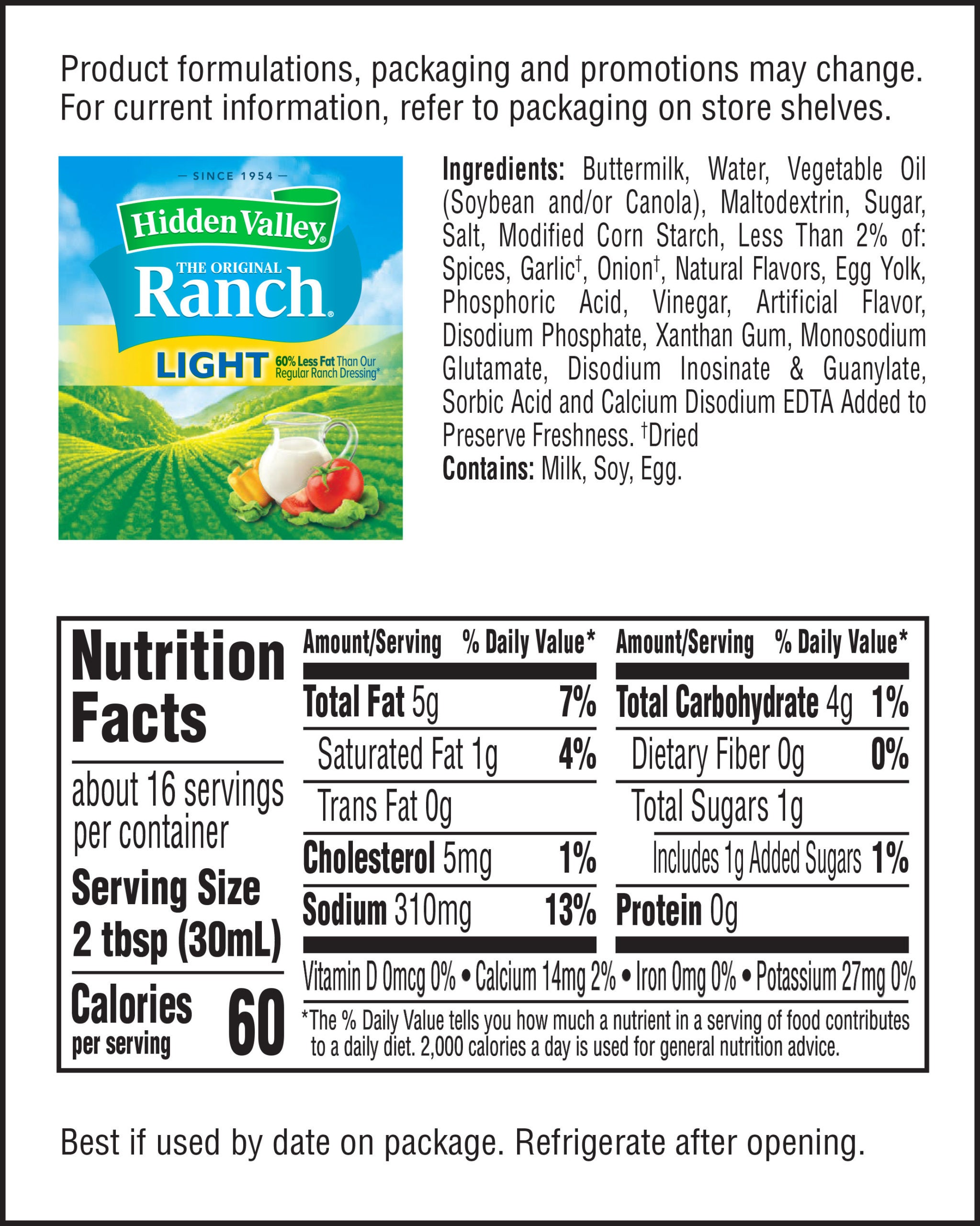 The Original Ranch® Light nutritional facts