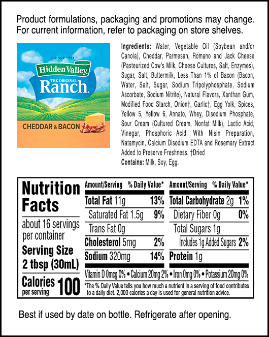 Hidden Valley® Cheddar & Bacon Flavored Ranch nutritional facts