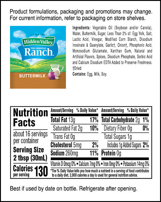 Hidden Valley® Old-Fashioned Buttermilk Ranch nutritional facts