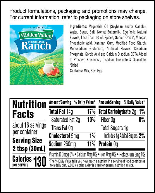 Hidden Valley® Original Ranch® Topping & Dressing nutritional facts