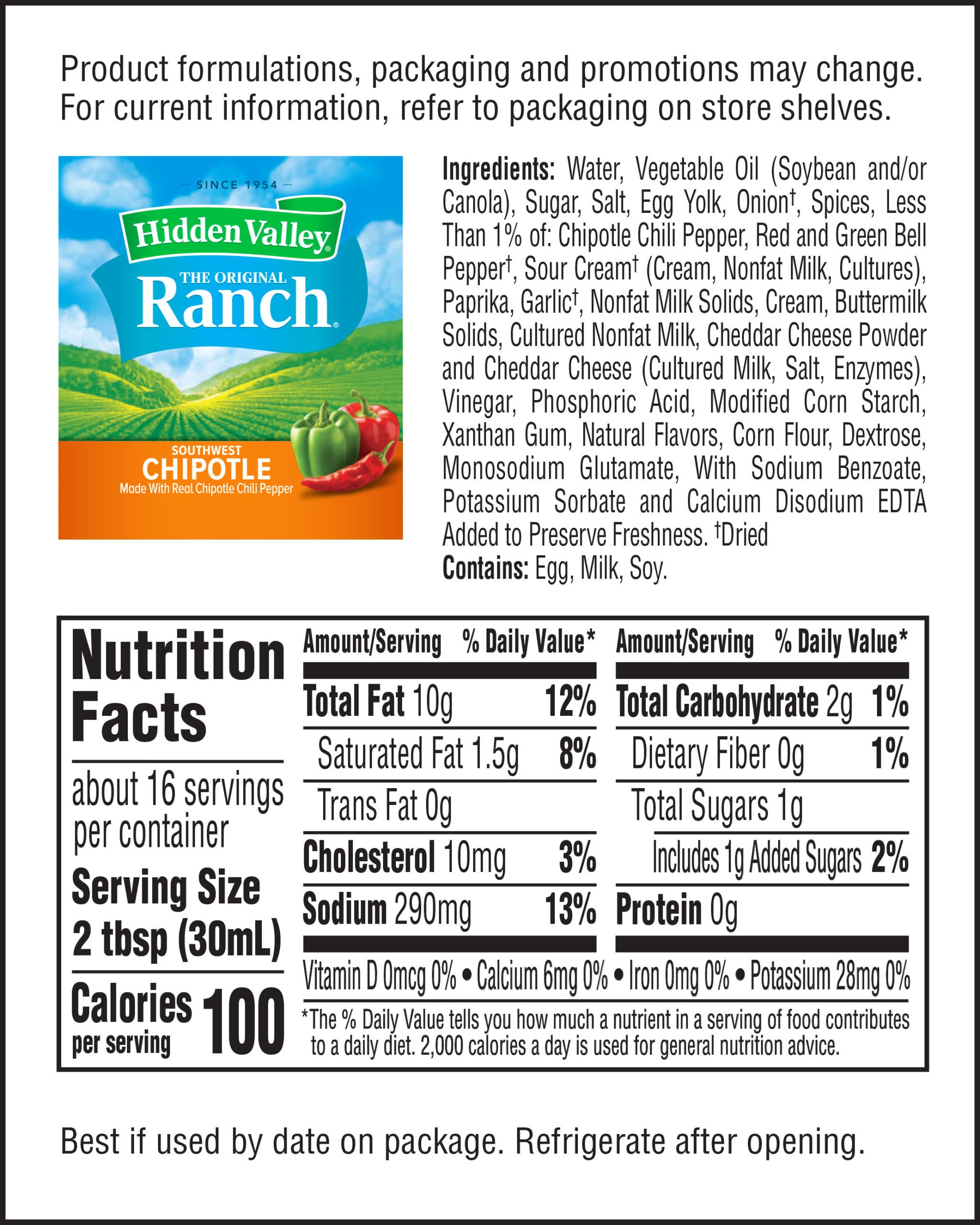 Hidden Valley® Southwest Chipotle Topping & Dressing nutritional facts