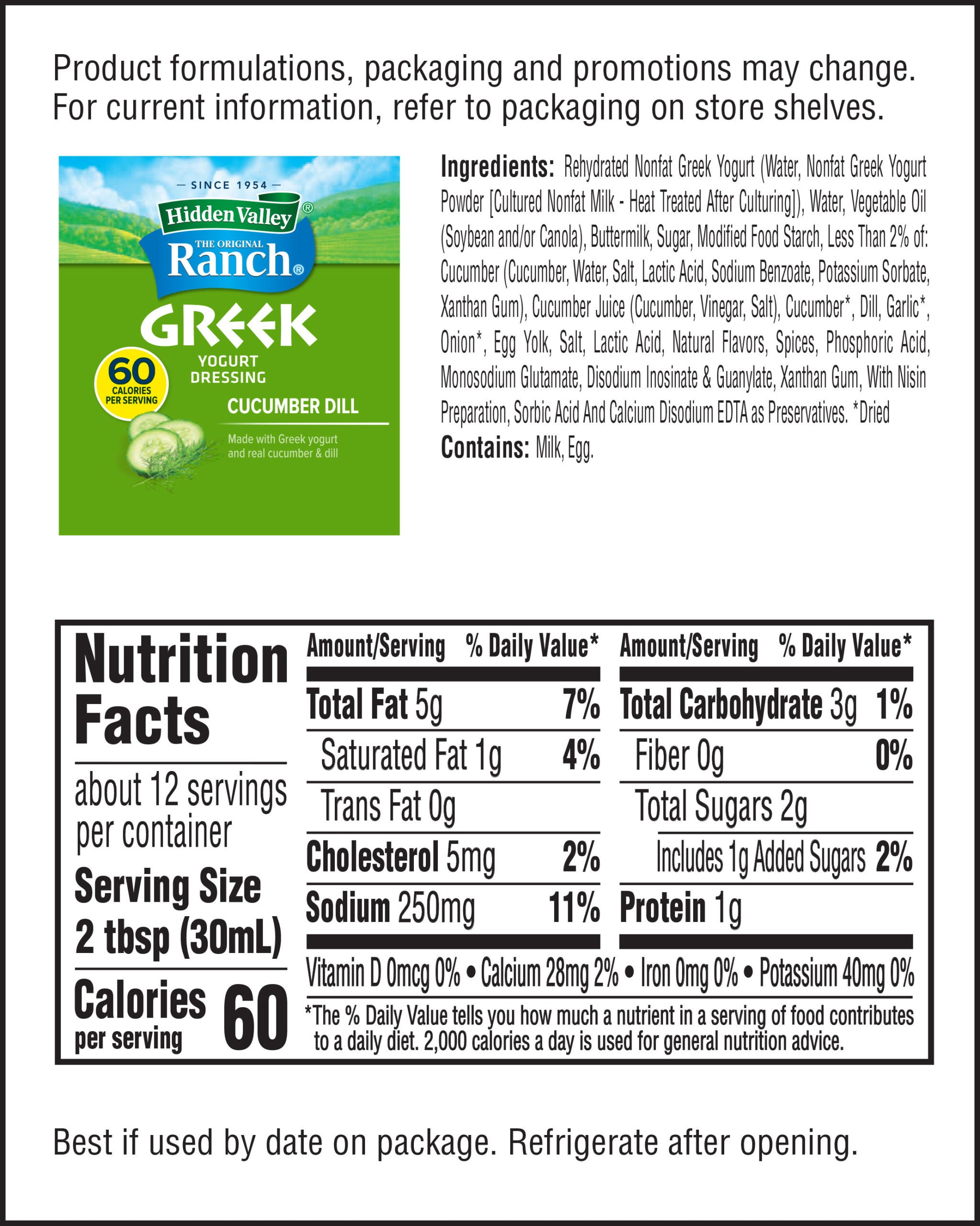 Hidden Valley® Greek Yogurt Cucumber Dill nutritional facts