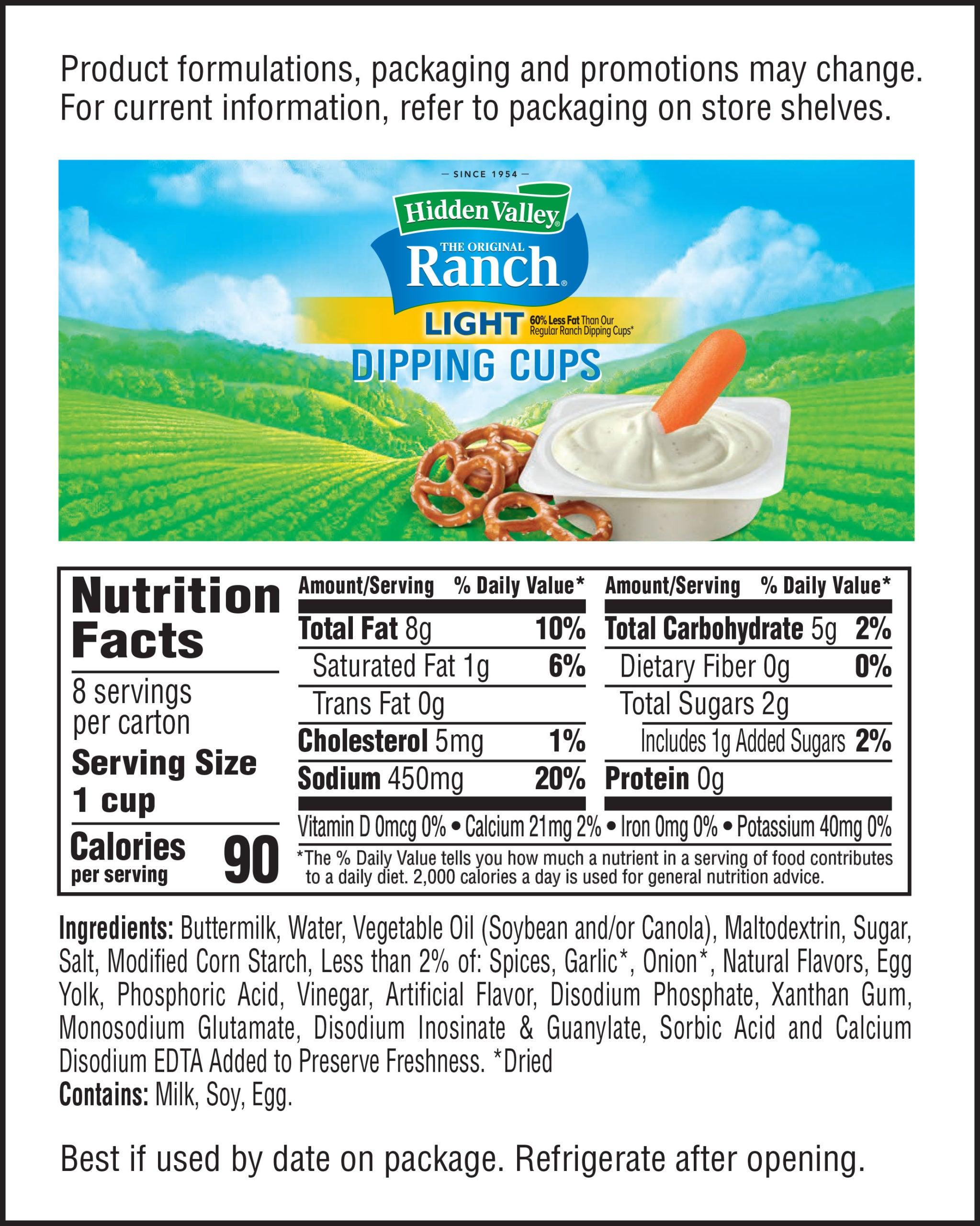 Hidden Valley® Ranch Light Dip Cups nutritional facts
