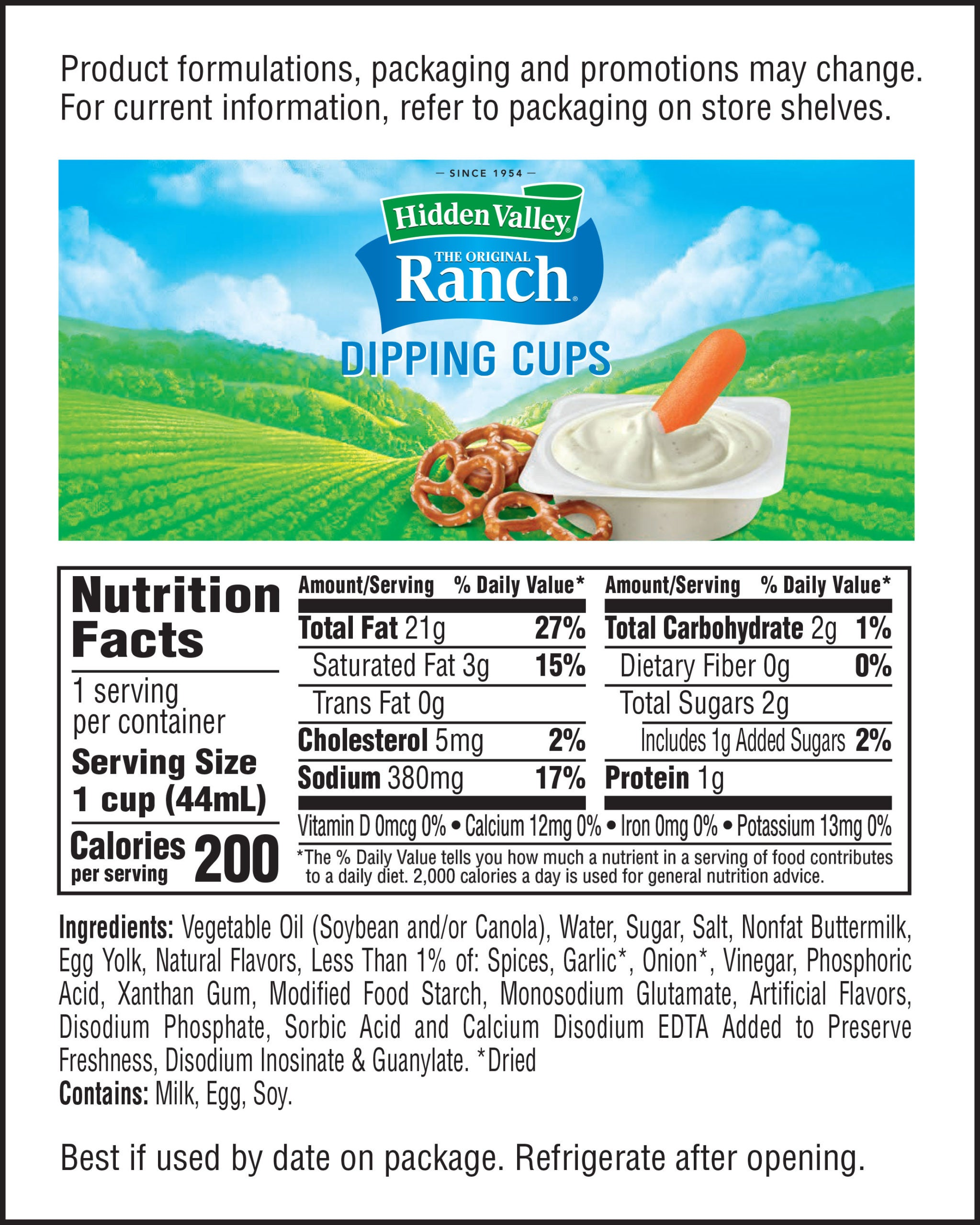 Hidden Valley® Ranch Dip Cups nutritional facts
