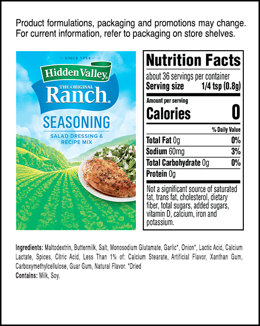 Hidden Valley® Original Ranch® Seasoning, Salad Dressing & Recipe Mix Packet nutritional facts