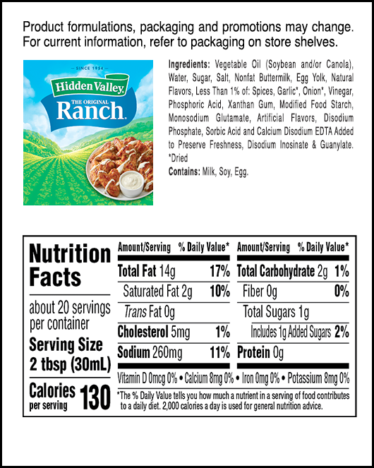The Original Ranch® Easy Squeeze Bottle nutritional facts