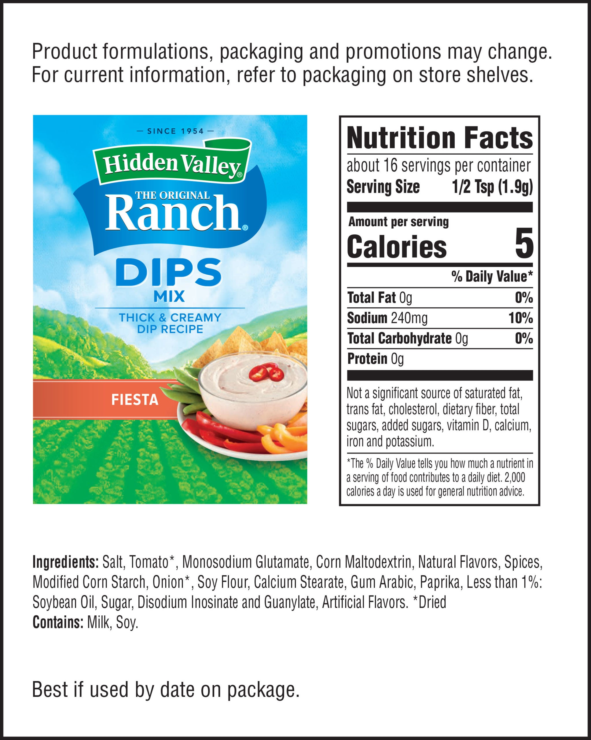 Hidden Valley® Fiesta Ranch Dips Mix nutritional facts