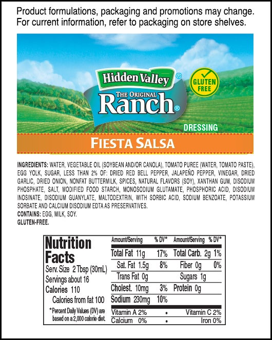 Hidden Valley<sup>&reg;</sup> Fiesta Salsa Ranch nutritional facts