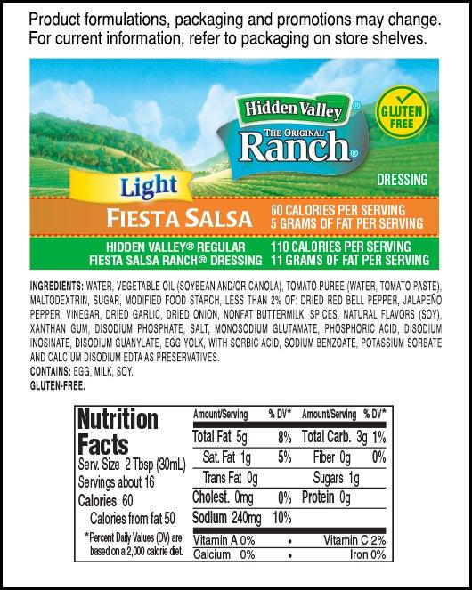 Hidden Valley<sup>&reg;</sup> Fiesta Salsa Ranch Light nutritional facts