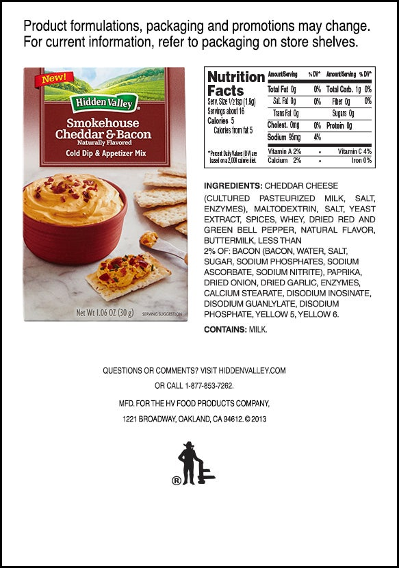 Hidden Valley<sup>&reg;</sup> Smokehouse Cheddar &amp; Bacon Cold Dip &amp; Appetizer Mix nutritional facts