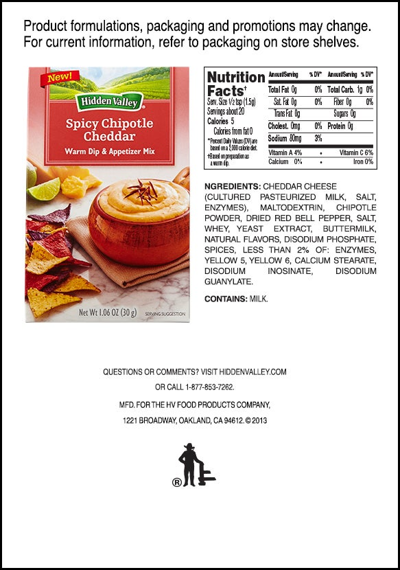 Hidden Valley<sup>&reg;</sup> Southwest Chipotle Cheddar Warm Dip &amp; Appetizer Mix nutritional facts