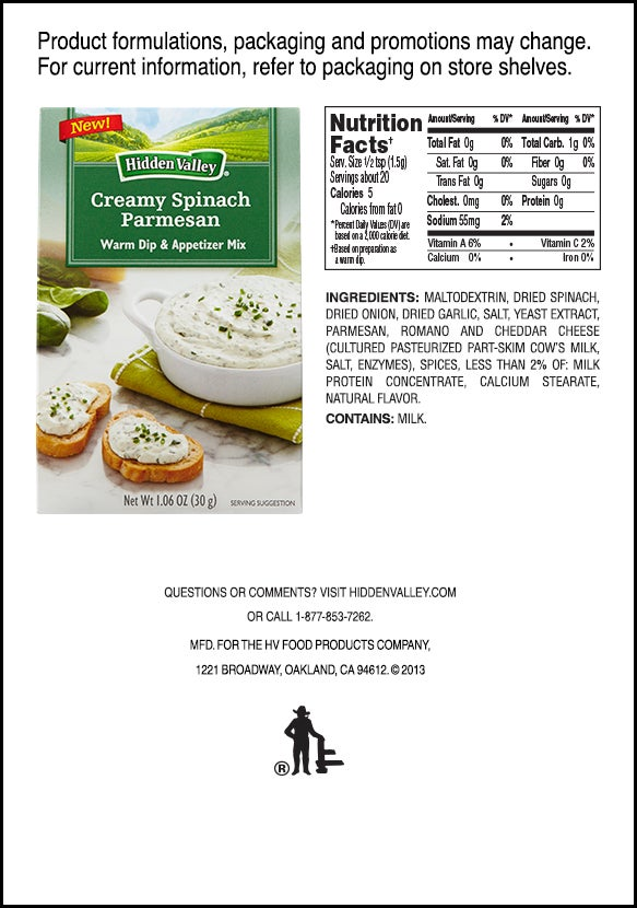 Hidden Valley<sup>&reg;</sup> Creamy Spinach Parmesan Warm Dip &amp; Appetizer Mix nutritional facts
