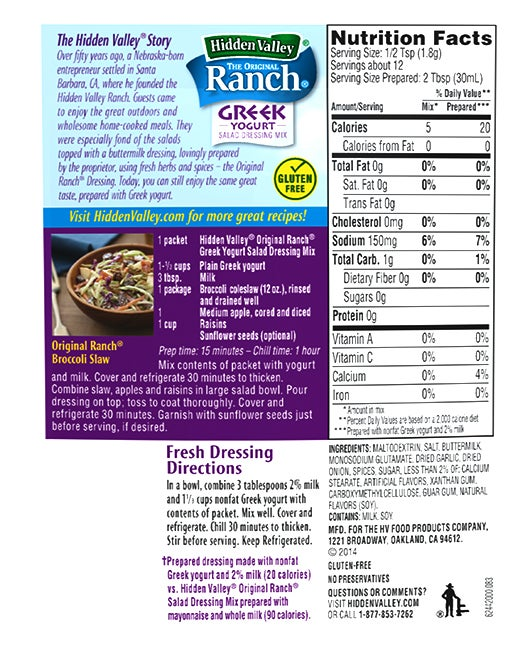 Hidden Valley® Greek Yogurt Salad Dressing Mix nutritional facts