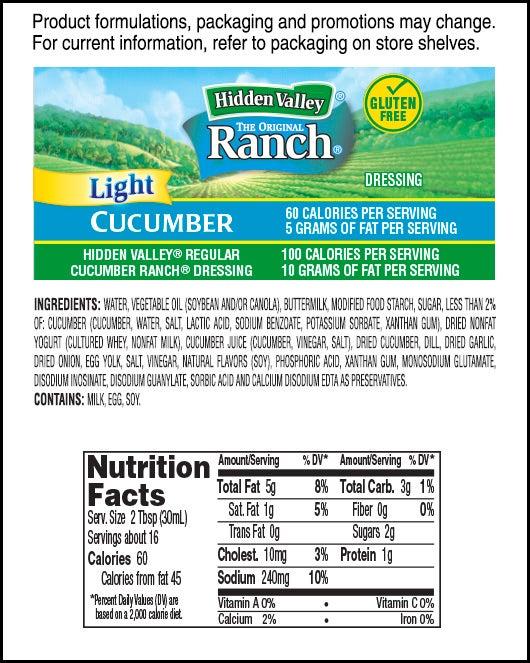 Hidden Valley® Cucumber Ranch Light nutritional facts