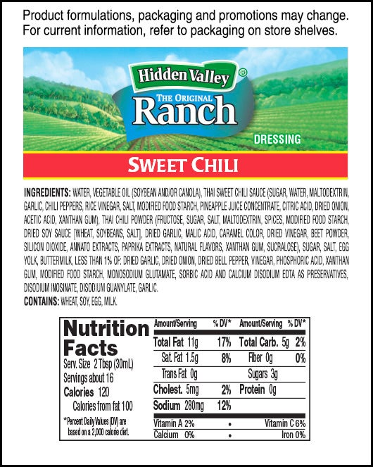 Hidden Valley® Sweet Chili Ranch nutritional facts