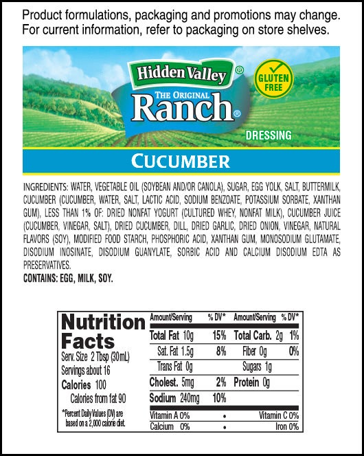 Hidden Valley<sup>&reg;</sup> Cucumber Ranch nutritional facts