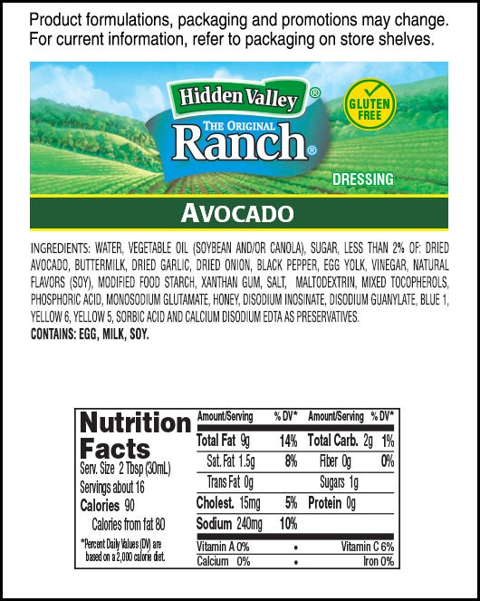 Hidden Valley® Avocado Ranch nutritional facts