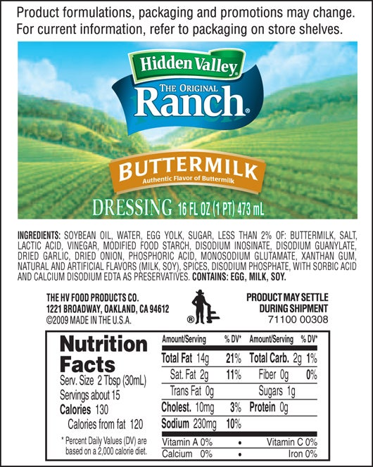 Hidden Valley<sup>®</sup> Old-Fashioned Buttermilk Ranch nutritional facts