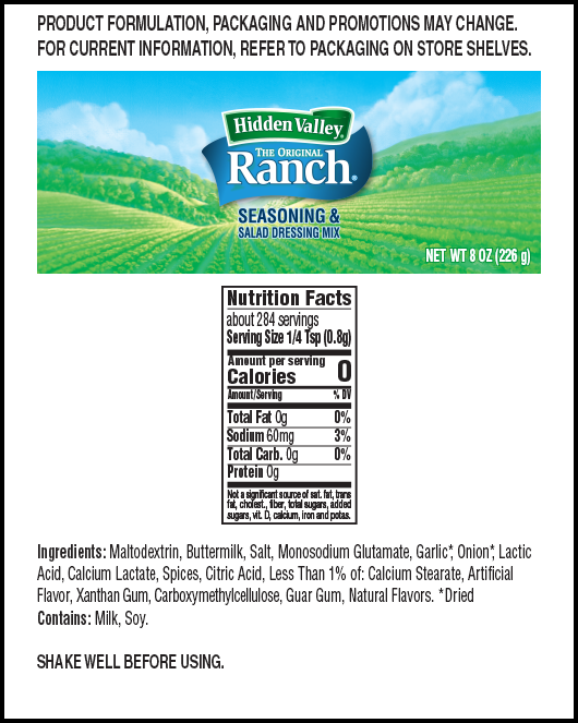 Hidden Valley® Original Ranch® Seasoning & Salad Dressing Mix Shaker nutritional facts