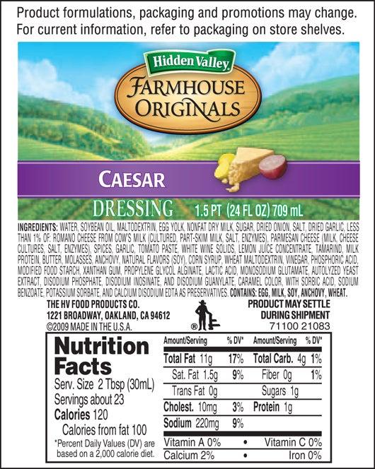 Farmhouse Originals Caesar nutritional facts