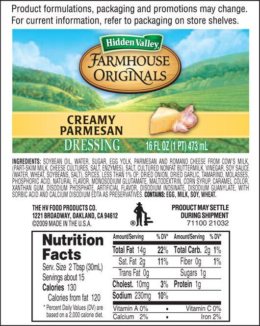 Farmhouse Originals Creamy Parmesan nutritional facts