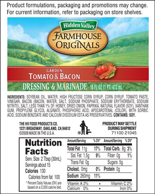 Farmhouse Originals Garden Tomato & Bacon nutritional facts
