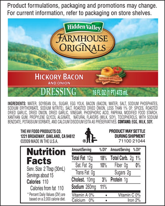 Farmhouse Originals Hickory Bacon and Onion nutritional facts