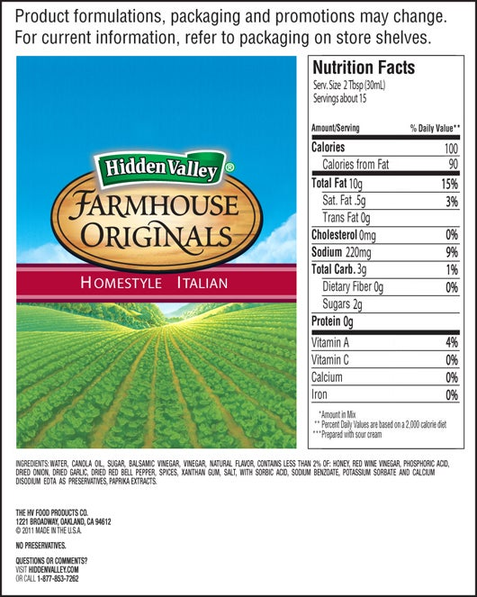 Farmhouse Originals Homestyle Italian Dressing nutritional facts