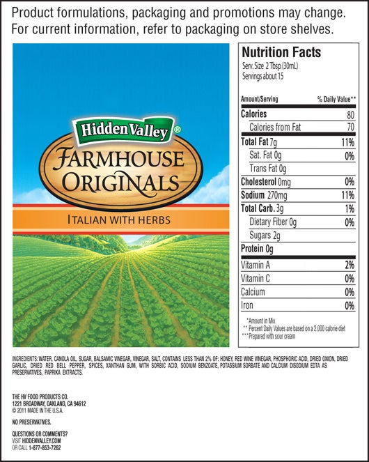 Farmhouse Originals Italian with Herbs Dressing nutritional facts