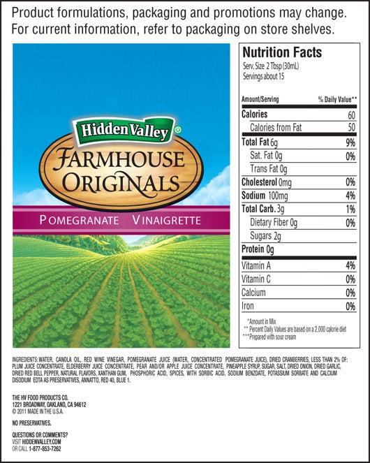 Farmhouse Originals Pomegranate Vinaigrette nutritional facts