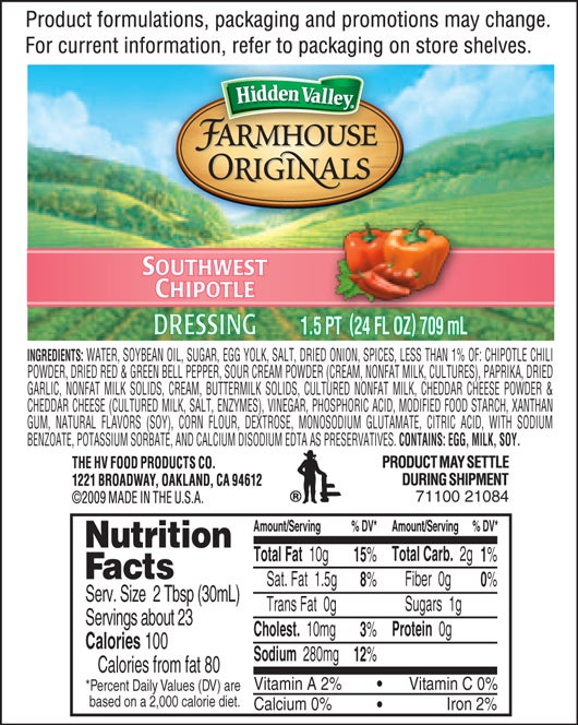 Farmhouse Originals Southwest Chipotle nutritional facts