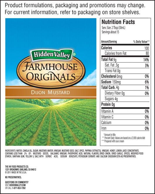 Farmhouse Originals Dijon Mustard Vinaigrette nutritional facts