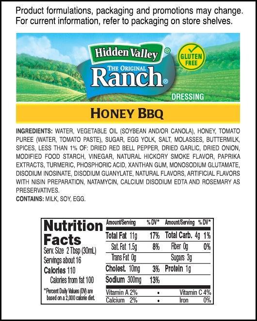 Hidden Valley<sup>&reg;</sup> Honey BBQ Ranch<sup>&reg;</sup> nutritional facts