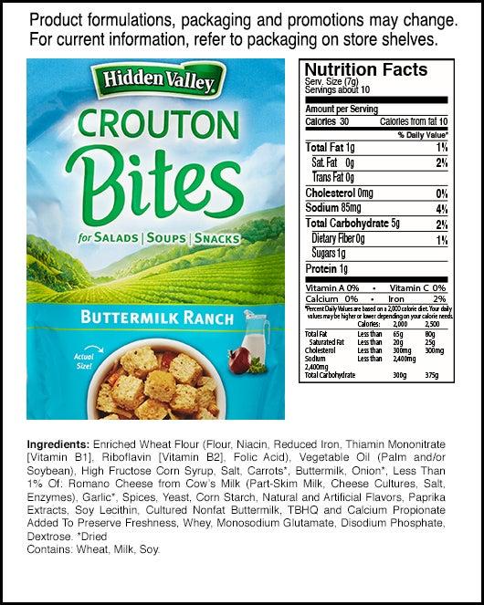 Buttermilk Ranch Crouton Bites nutritional facts
