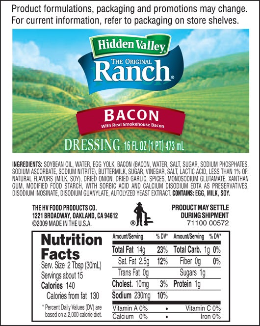 Hidden Valley<sup>&reg;</sup> Bacon Ranch nutritional facts