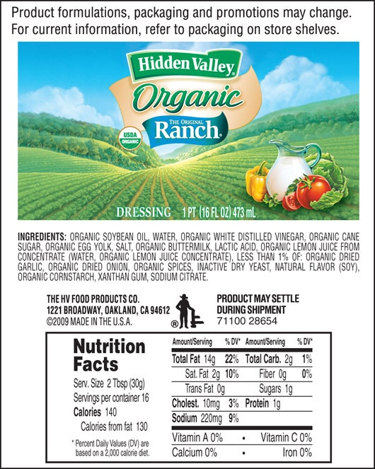 Hidden Valley® Original Ranch® Organic nutritional facts