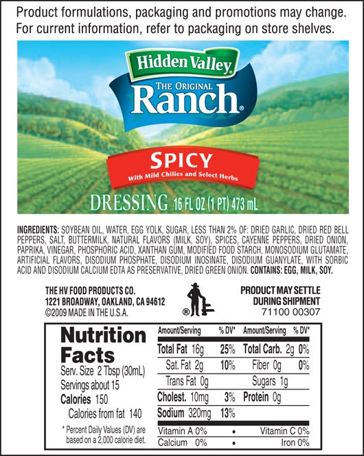 Hidden Valley<sup>&reg;</sup> Spicy Ranch nutritional facts