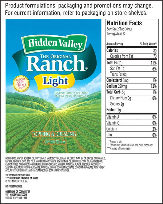 The Original Ranch<sup>&reg;</sup> Light Easy Squeeze Bottle nutritional facts