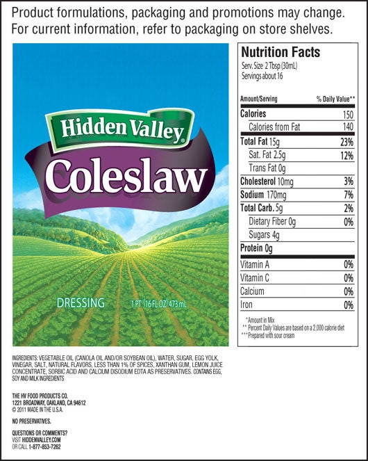Coleslaw nutritional facts