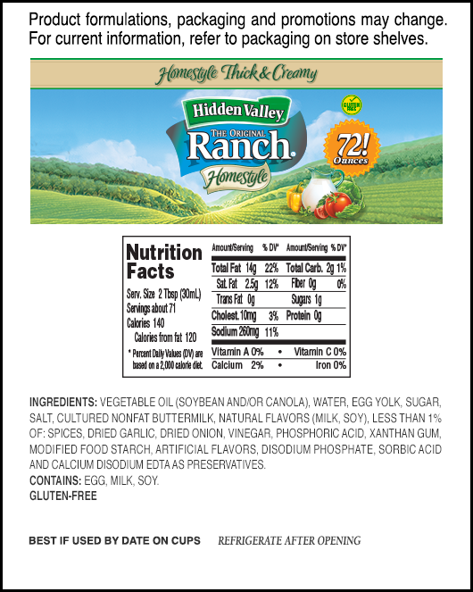 Hidden Valley® Original Ranch® Homestyle nutritional facts