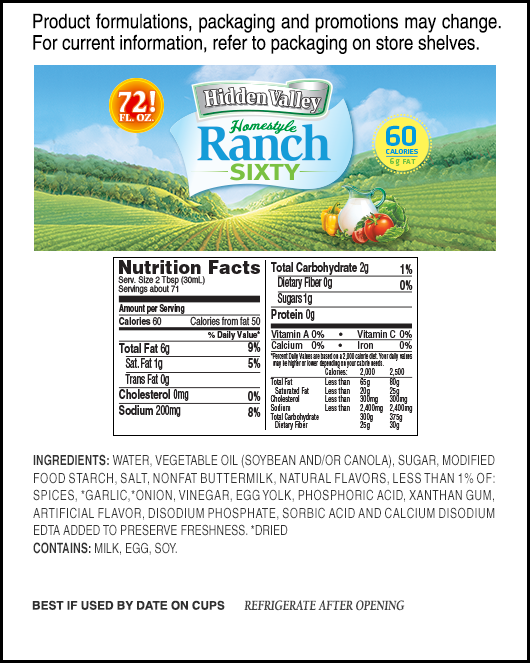 Hidden Valley® Original Ranch® Homestyle Light nutritional facts
