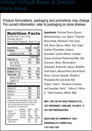 Hidden Valley® Bacon & Cheddar Pasta Salad nutritional facts