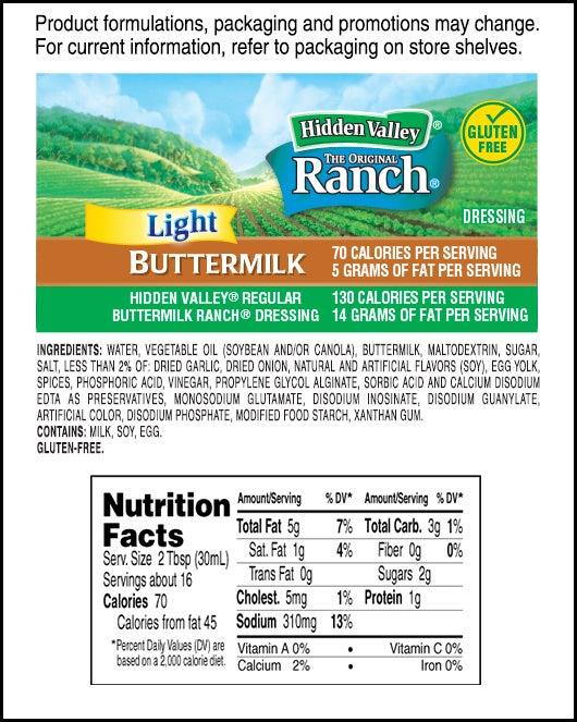 Hidden Valley<sup>&reg;</sup> Buttermilk Ranch Light nutritional facts